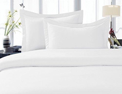 JS Sanders Elegance Linen Bettwäsche-Set Fadenzahl 1500, faltenfest, 4 Stück, Tiefe Taschen bis 45,7 cm, alle Größen und Farben, Queen White -