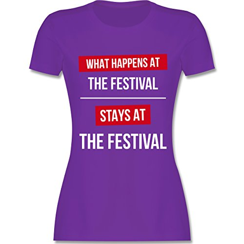 Festival - What happens on the festival stays at the festival - tailliertes Premium T-Shirt mit Rundhalsausschnitt für Damen Lila
