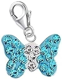 GH1a Aquamarin Kristall Schmetterling Charm Anhänger 925 Echt Silber Geschenkidee