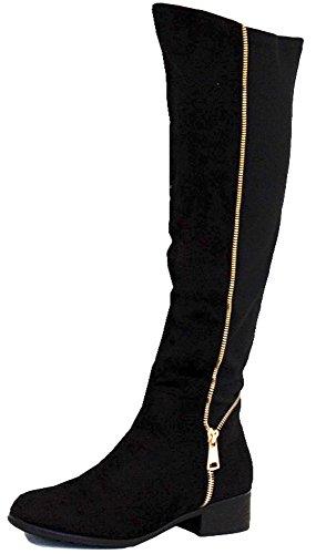 Style T Black Suede Size 6 - Ladies Flat Winter Biker Style...