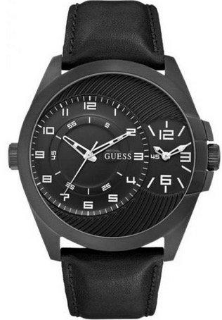 Guess - Orologio da polso da uomo, analogico, al quarzo, cinturino in pelle W0505G5