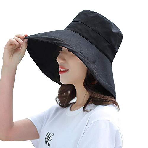 WYJW Hüte 100% Baumwolle Erwachsene Bucket Hat Sommer Angeln Beach Festival Sun Cap 4 Farbe (Farbe: SCHWARZ, Größe: 54-60cm)