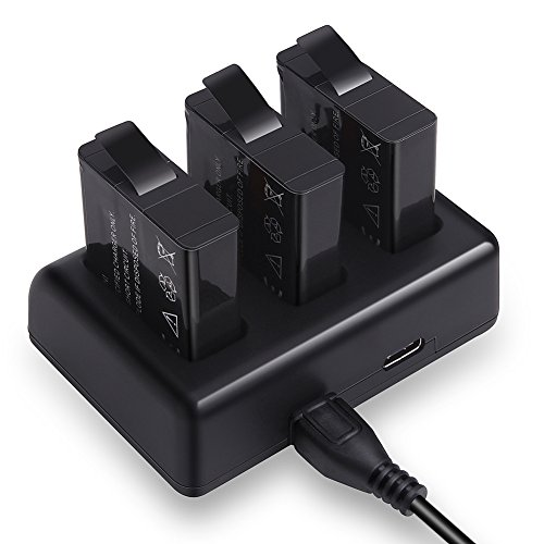 Expresstech @ usb caricabatteria + 3x batteria ahdbt-501 aabat-001 per gopro hero 5 hero 5 con micro usb (compatibile con il firmware v01.50, v01.55,v01.57 e v02.00)