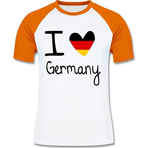 Shirtracer Fußball-WM 2018 - Russland - I Love Germany - Herren Baseball Shirt Weiß/Orange