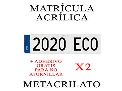 2 MATRICULAS ACRILICAS METACRILATO + Adhesivos para Colocar SIN ATORNILLAR Gratis Medida MATRICULA 52x11cm Coche NIKKALITE POLICARBONATO 100% HOMOLOGADA Larga Europea