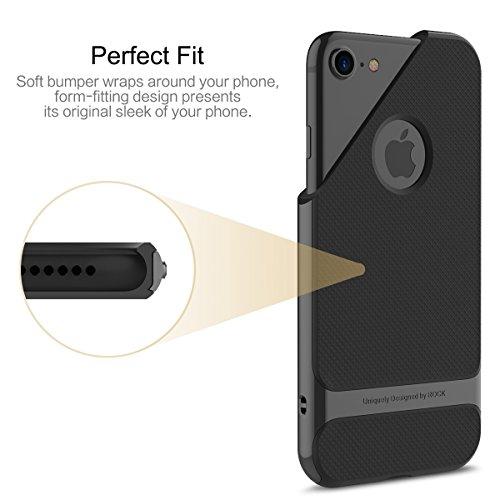 ROCK iPhone 6/6 s Case TPU + PC Dual Protection-Handyhülle, Anti-Scratch PC Zurück + Stoßfest TPU Bumper für iPhone 6/6 s-Rot Schwarz