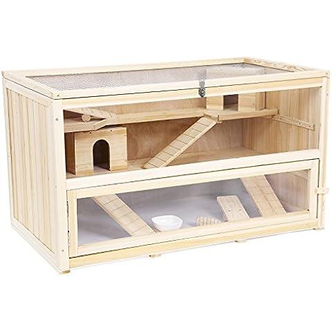 Songmics Nueva Jaula de madera para roedores 3 niveles Casa para hamster e animales pequeños PHC004
