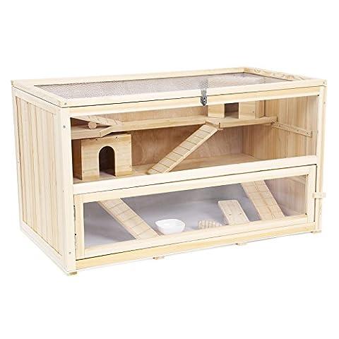Cage Rongeur Bois - Songmics Cage Maisonnette 100% en bois de