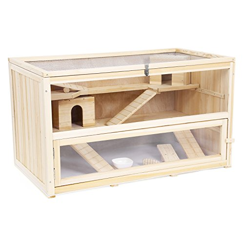 Songmics Cage Maisonnette 100% en bois de sapin pour Hamsters, Souris et Gerbilles de luxe avec Rampes PHC004
