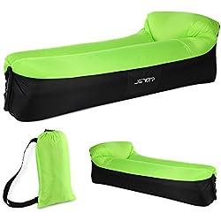 JSVER Sofá Inflable Aire del ocioso con el Paquete Portable para Viajar, Acampar, Senderismo, Piscina y Partidos de la Playa, Negro&Verde