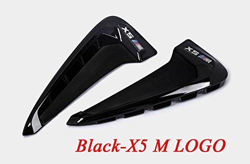 2x ABS Auto Front Fender Seite Air Vent Cover Trim für X Serie X5F15x5m F85Shark Kiemen Seite Vent KFZ Aufkleber Zubehör (Black Fender Trim)