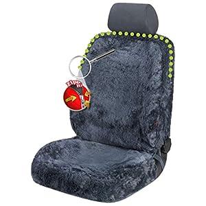 Walser 20032 Zipp IT Autositzbezug aus Fell |Sitzbezug Nineve aus Lammfell in Anthrazit | Lammfellsitzbezug in Grau | Lammfell Schonbezug mit Reißverschluss-System