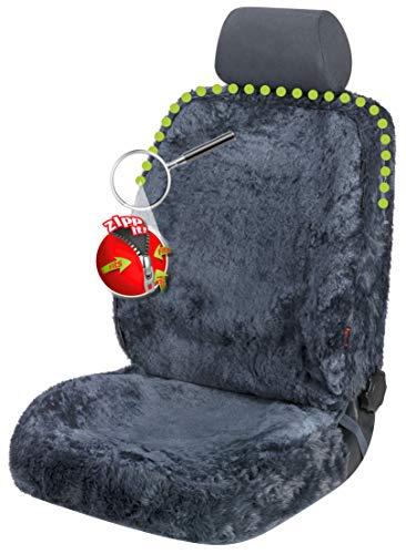 Lammfell-Sitzkissen 40x40cm Anthrazit Sitzauflage Kisen Sitzauflage Sitzschoner