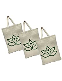 Maheshwari Cotton Bag For Lunch & Shopping, White Bag, 18 X 2 X 14 Inches, Pack Of 3 Bags