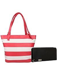 Lorna Women's Hand Bag & Clutch Combo (Pink & Black)