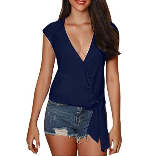 CUTUDE Damen T Shirt, Bluse Frauen Plus Größe Mode Kurzarm V-Ausschnitt Taste Sommer Tops (Blau, XXX-Large)