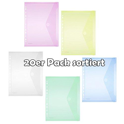 Sichttasche A4, Klappe, Lochrand, transparent farbig sortiert PG/20Stück