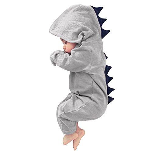 Tangbasi Toddler Baby tutina invernale autunno con cappuccio neonato Halloween dinosauro costume Grey 0-6 mesi