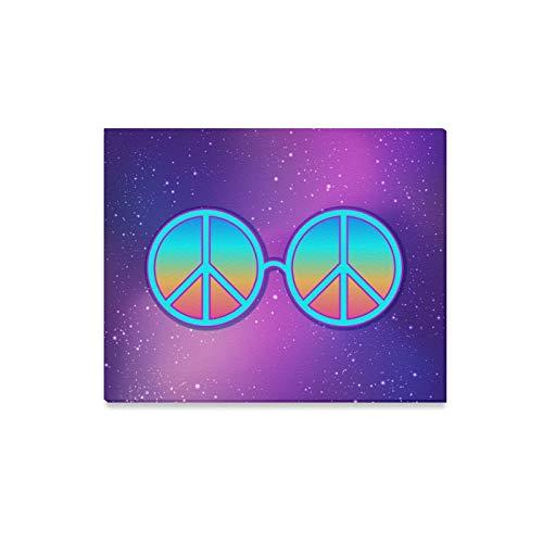 Arte de la pared Pintura Gafas redondas Hippie Signo de la paz sobre I