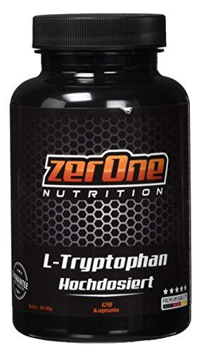 ZerOne L-Tryptophan 670mg pro Kapsel | 120 Kapseln L-Tryptophan Eisen Niacin | Herstellung in Deutschland Hochwertige Qualität Kapselgröße 00