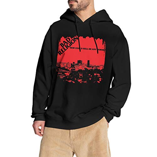 GJINNANFANGBEN Mann Bad Religion Soft How Could Hell Be Any Worse Hoodie Fashion Sweatshirt Pullover Black L