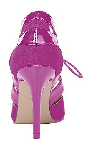 Guoar High Heels Damenchuhe Große Größe Pumps Schnürsenkel Hohl Schnüren Spitze Zehen Büro-Dame Party Club Hochzeit Pink Samt