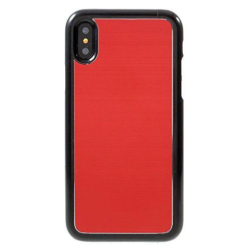 Handy Schutz Hülly für Apple iPhone X 10 5.8 Zoll | Hybriddesign METALL ROT | Hart Stoßfest Brushed TPU Plastik Cover Glänzend Armor Panzer Case Kunststoff Rot