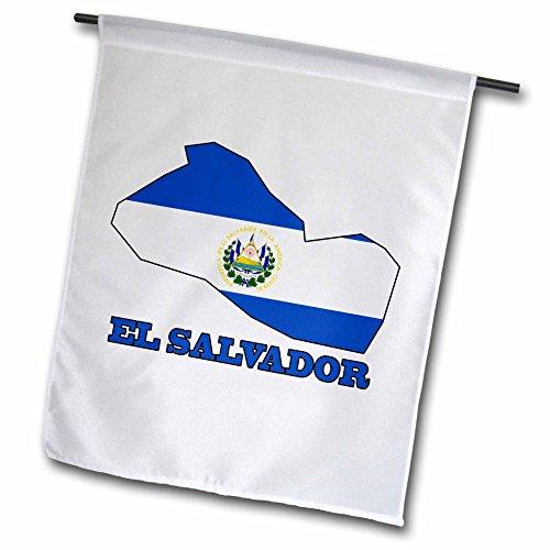 3drose FL _ 58776_ 1EL SALVADOR Flagge in die Übersichtskarte und Words EL SALVADOR Garden Flagge, 12by 18 (El Salvador Flag Tshirt)