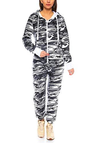 Crazy Age Herren Jumpsuit Overall Strampeler Latzhose Ganzkörperanzug Sweat Camouflage Design. Warm, Weich, Sportlich (L, Camouflage Damen 1) -