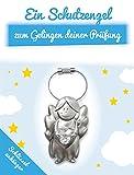 ART + emotions Schlüsselanhänger - Schutzengel Zum Gelingen der Prüfung - Glücksbringer für Schulkind - Engel aus Metall mit geschliffenem Glasstein als Geschenkidee zur Einschulung Oder Zum Abi
