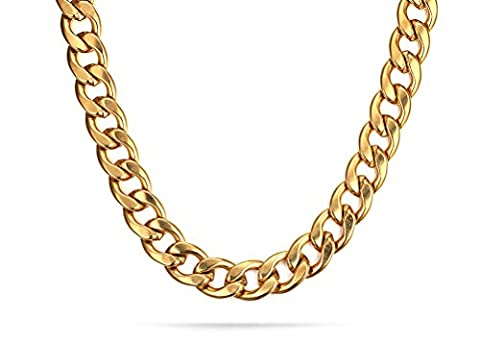 Vnox 18K Gold Plated Stainless Steel Curb Link Chain Necklace for Men 11.5mm,60cm