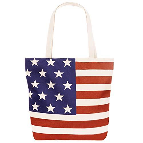 s Damen Canvas Weekender God Bless Amerika Flagge Schultertasche Geldbörse ()