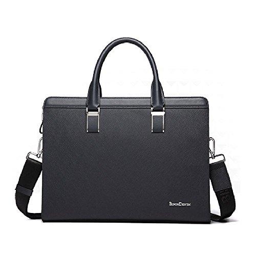 BINSON DENIM Herren Leder Aktentasche Herren Handtaschen Herren Umhängetasche Herren Laptop Tasche Hohe Qualität N2317 (Schwarz) Blau