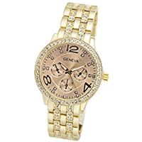 Geneva Women's Gold Dial Bracelet With Crystals Watch