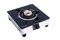 Knight Flame Stainless Steel Body Single Burner Gas Stove Black Glass Stove Manual Ignition Brass Burners