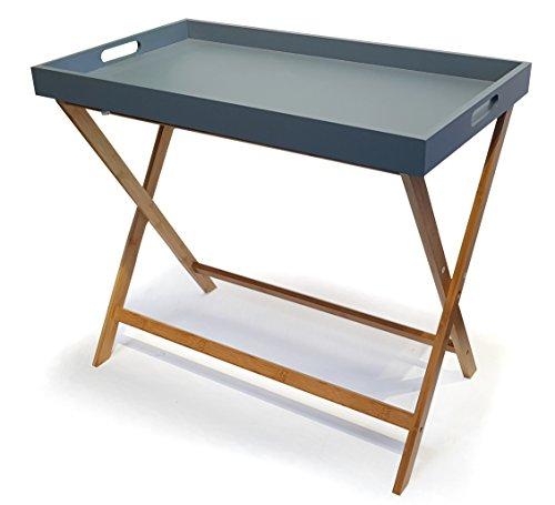 osoltus Bambus Tablett Beistelltisch Serviertablett Tabletttisch TV-Tisch 70 cm grau
