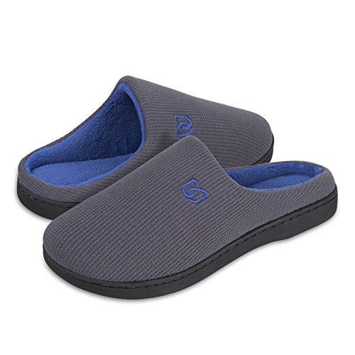 Damen Herren Hausschuhe aus Memory-Baumwolle Drinnen Pantoffeln im Herbst und Winter für Drinnen und Draussen (B Grau/Blau, 44/45 EU)
