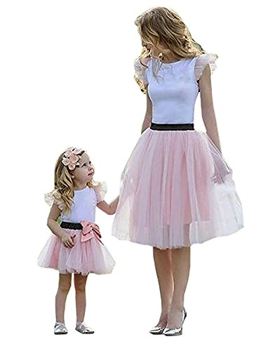 l Mother Daughter Dresses Matching Outfits Family Clothing Lace Princess Dress Pink ()