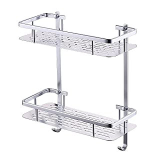 KES Shower Shelf, Bathroom Shelf Basket (12 Inch Aluminum 2 tier) - Shower Organizer Wall Mounted, A4028B