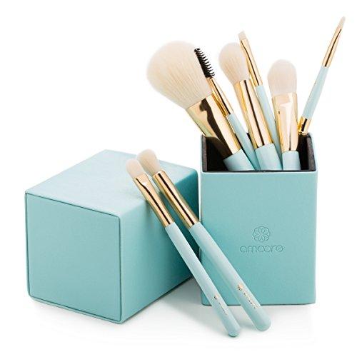 amoore Make Up Pinsel Set Kosmetik Pinselset Make Up Buersten Puderpinsel Pinselsets Holzgriff mit der PU Leder Pinsel Eimer Kosmetik (8 Pcs, Mintgrün)