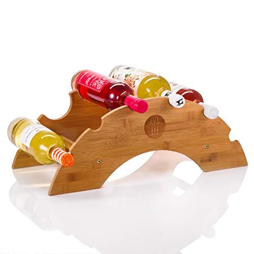 PreVino Weinregal Kompakt aus Bambus Holz für 6 Flaschen Wein - platzsparend klein - Tisch Halterung zur Lagerung von Weinflaschen