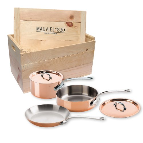 Mauviel Made In France M'Heritage M150S 6100.01WC Copper 5-Piece Cookware Set with Wooden Crate,Cast Stainless Steel Handles. by Mauviel