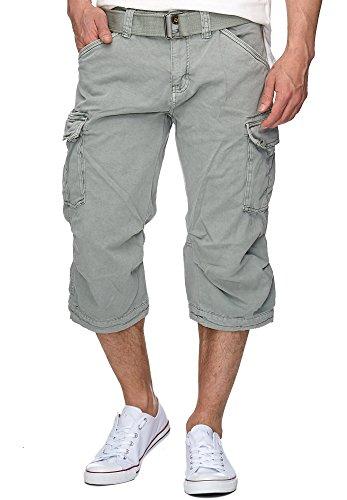 Indicode Herren Nicolas Check 3/4 Karierte Cargo Shorts inkl. Gürtel aus nachhaltiger Baumwolle Lt Grey XL -