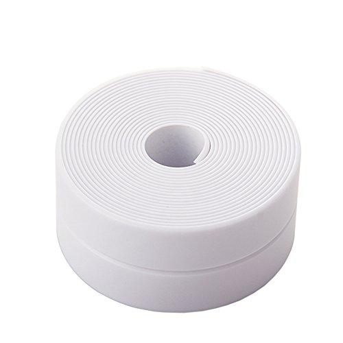 kxtffeect BestMall mildew-proof Wasserdicht Acryl selbstklebend Becken für Leuchtenrohr WC-Sitz Gap schneidbar zusammenklappbar PVC broading Bumper Fugen Streifen, 320x 3,8cm weiß -
