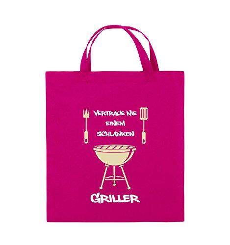 Comedy Bags - Vertraue nie einem schlanken Griller - Jutebeutel - kurze Henkel - 38x42cm - Farbe: Schwarz / Weiss-Neongrün Pink / Rosa-Weiss-Beige