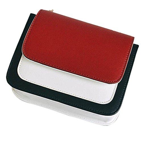 ESAILQ Mode Femmes Couleur Frappée Chaîne en Cuir Sac à Bandoulière Sac de Messenger Sac de téléphone (Rouge)