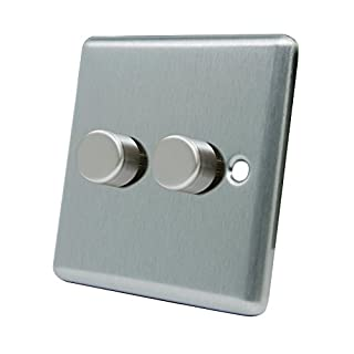 Light Dimmer Switch 2 Gang 400W - Satin Chrome - Square - 10 Amp Double 2 Gang 2 Way