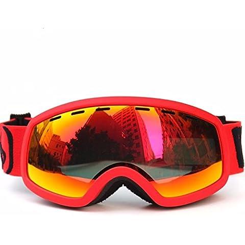 Nicelife Bambini specchio sci Double-Layer antinebbia occhiali da sci neve, 4604 Red