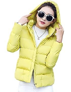 Yiiquan Donne cappuccio colletto slim colore solido cappotto con giù leggeri giacca trapuntata casuale