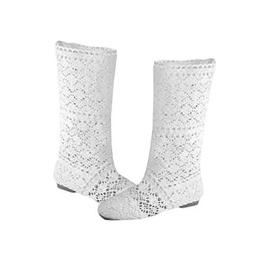 Sexy Boots (Yying Damen Sommer Stiefel Stiefeletten Flach Stickerei Hohe Stiefel, Sexy Mesh Schlupfstiefel, Slip-On Schuhe Boots Weiß 37)